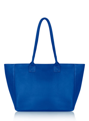 Leather Tote - Royal Blue
