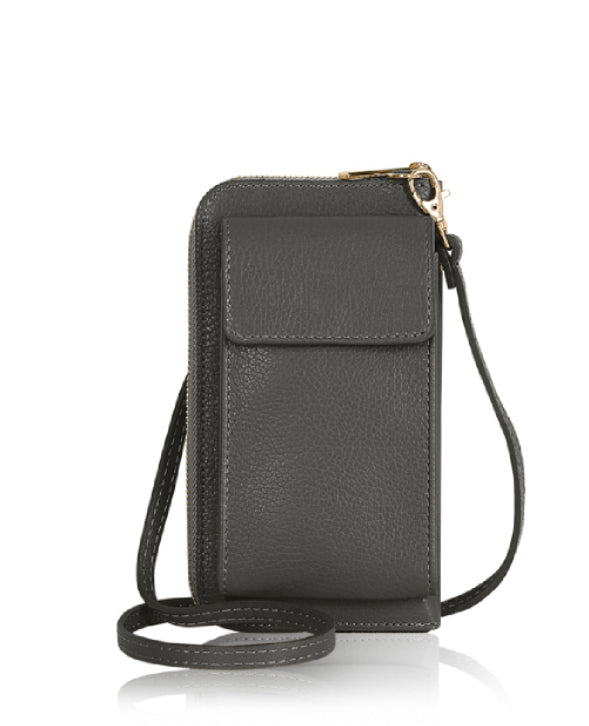 Mobile Phone Leather Wallet  - Dark Grey