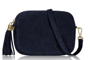 Suede Lila Cross Body Bag -  Navy Blue