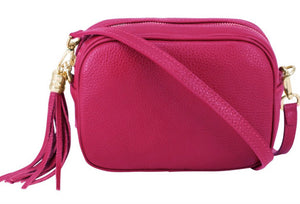 Lila Leather Cross Body Bag - Fuschia