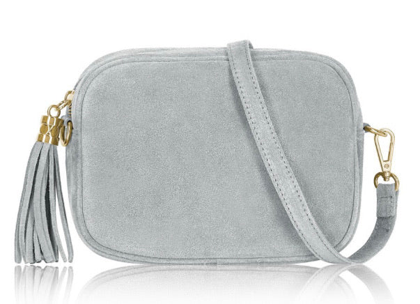 Suede Lila Cross Body Bag -  Light Grey