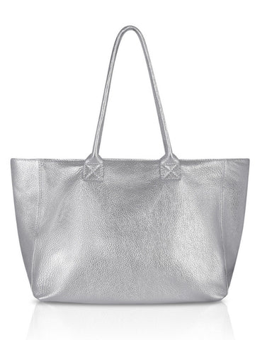 Leather Tote - Silver