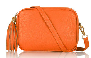 Lila Leather Cross Body Bag - Bright Orange
