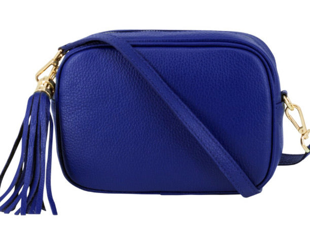 Lila Leather Cross Body Bag - Royal Blue