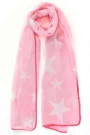 A pink scarf with mottled stars and a fuchsia trim.
