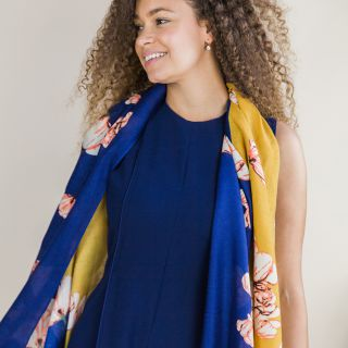 Navy and mustard diagonal panel scarf with over size floral print