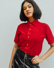 Load image into Gallery viewer, Female model is wearing red Magnetic T-shirt, features magnetic buttons for easy wear. Adaptive clothing that makes dressing up easier.