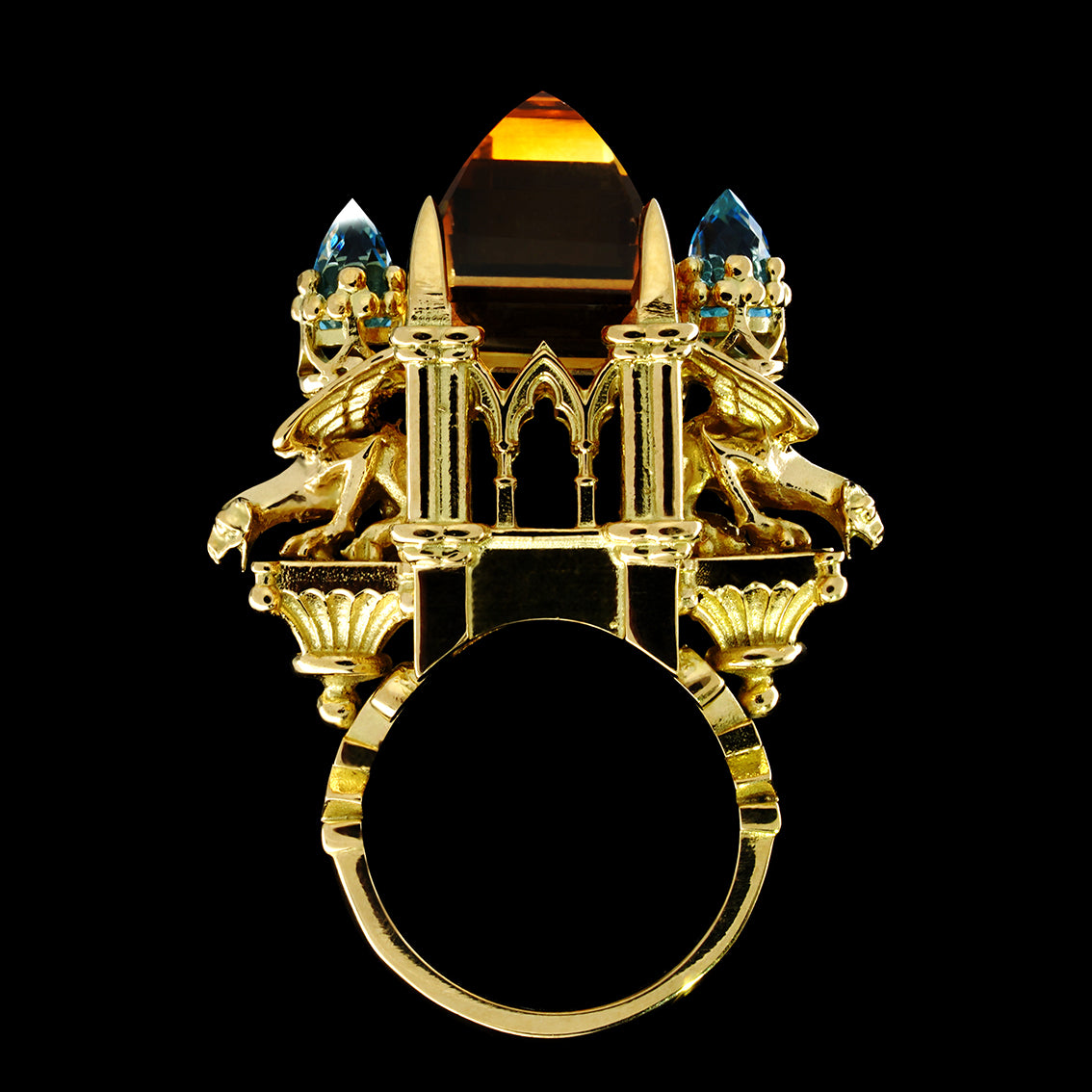 CITRINE AND AQUAMARINE CATHEDRAL RING