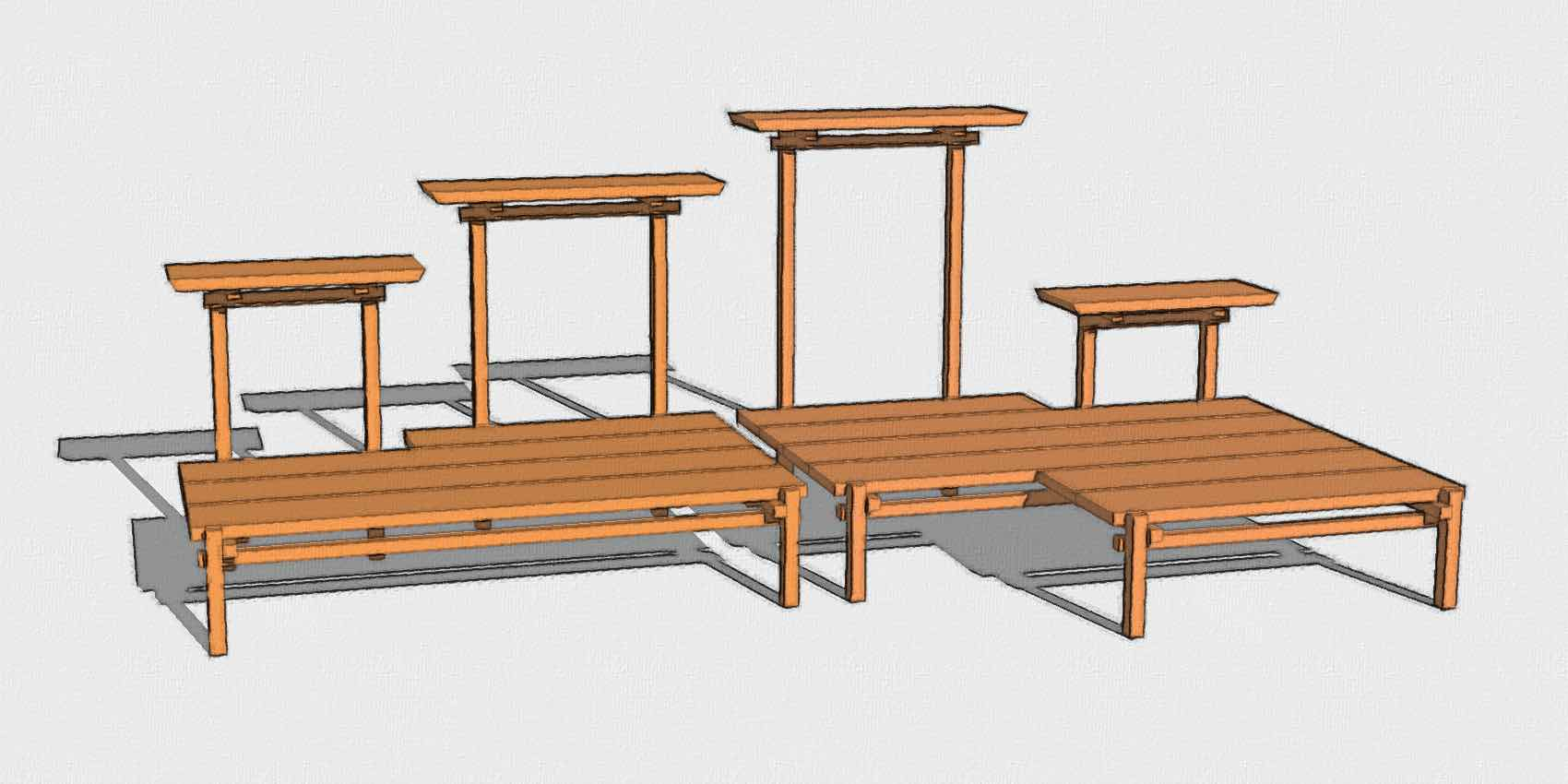 Omni Pagoda Bonsai Plant Stands: 1527 standard and 2715 extended