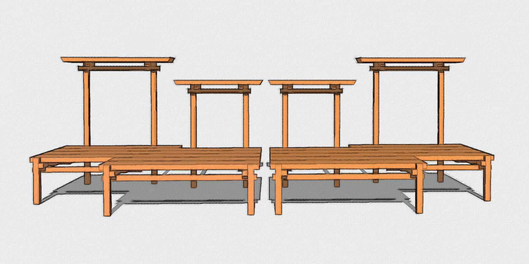 Omni Pagoda Bonsai Plant Stands: 2319 extended and 1923 extended