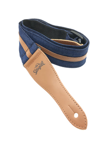 SEAGULL STRAP Navy Blue Denim w/Leather Ends - PickersAlley