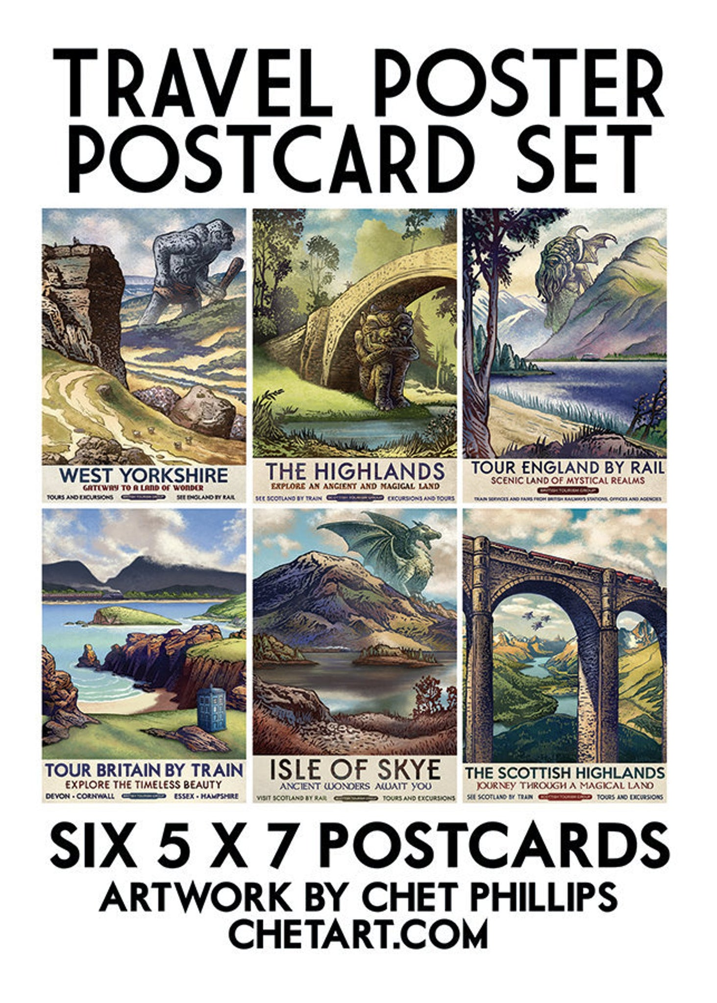 British Fantasy Travel Postcard Set- 6 postcards