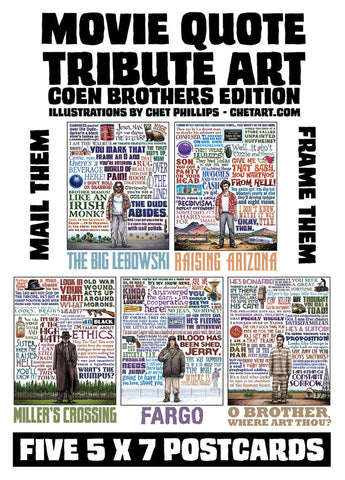 Coen Brothers Quote Series Set- 5 postcards