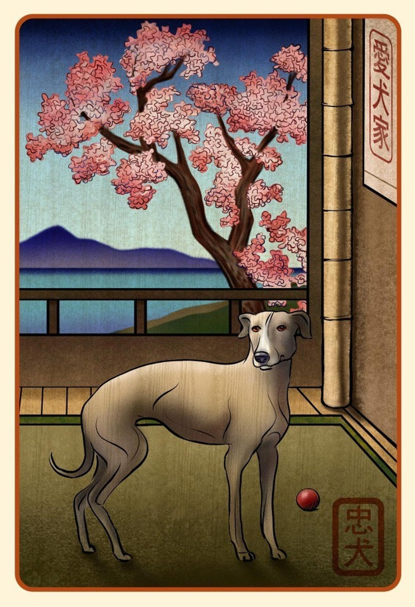 Greyhound Japanese Styled Print