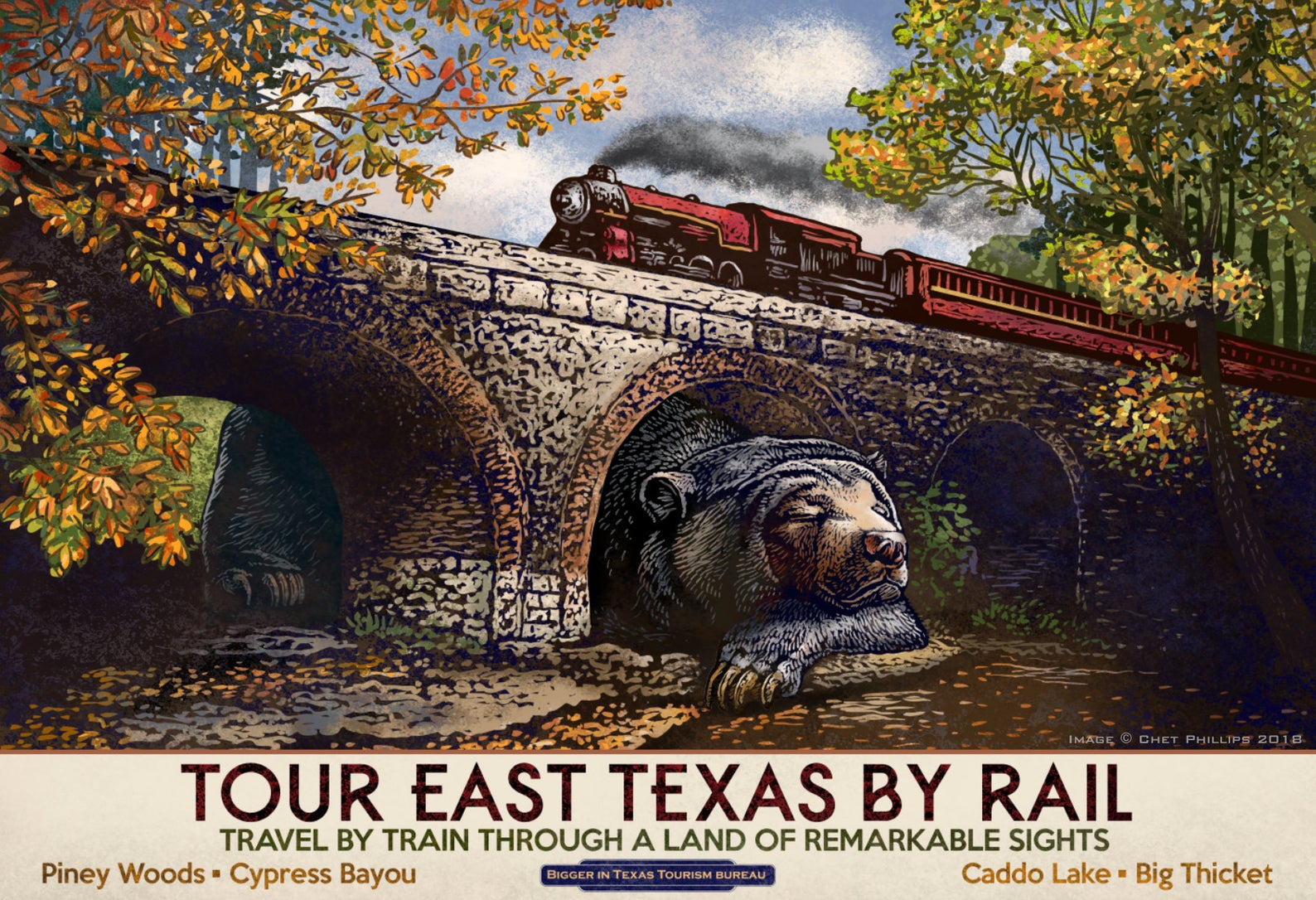 East Texas by Rail- Fantasy Texas Travel Poster