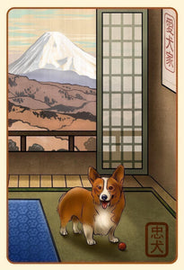 Welsh Corgi Japanese Styled Print