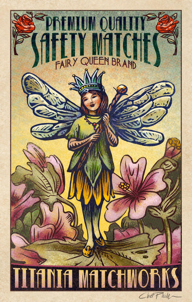 "Fairy Queen Brand 5"" x 7"" matted Matchbox print"