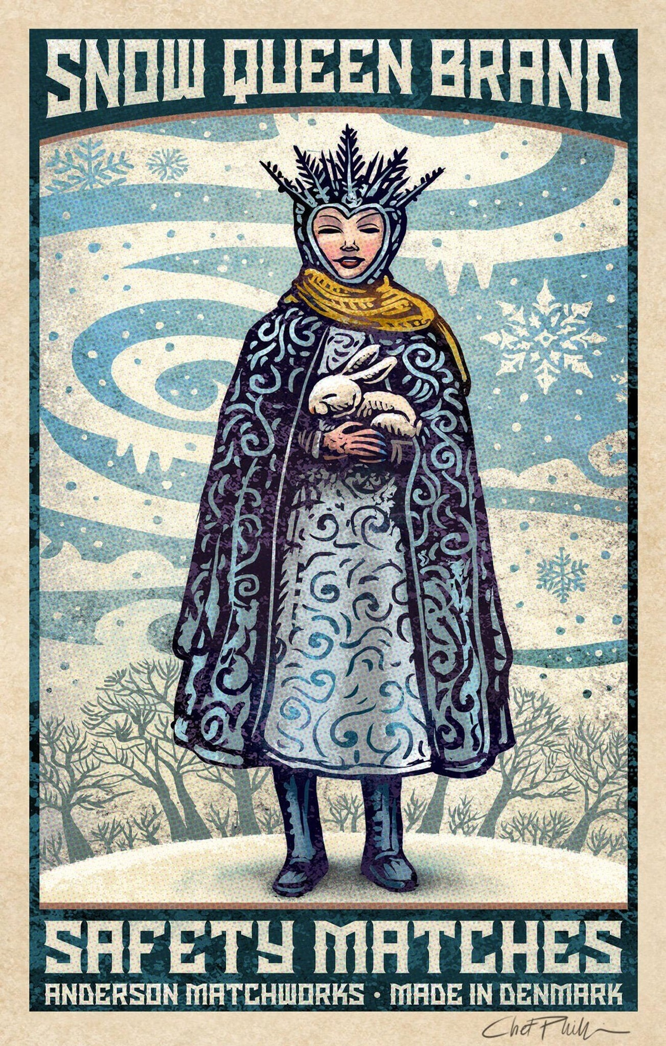 "Snow Queen Brand 5"" x 7"" matted Matchbox print"