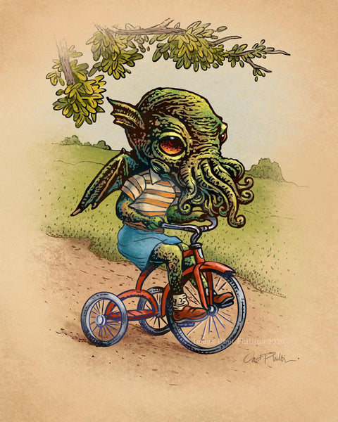 "Little Cthuhlu on Tricycle- 8"" x 10"" print"