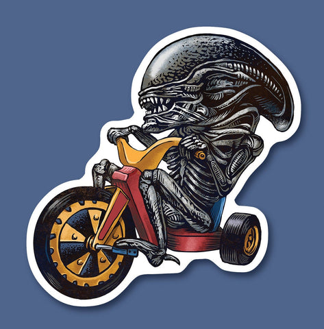 Big Wheel Xenomorph vinyl sticker