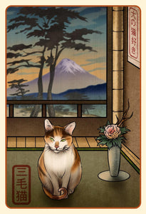 Calico Cat Japanese Styled Print