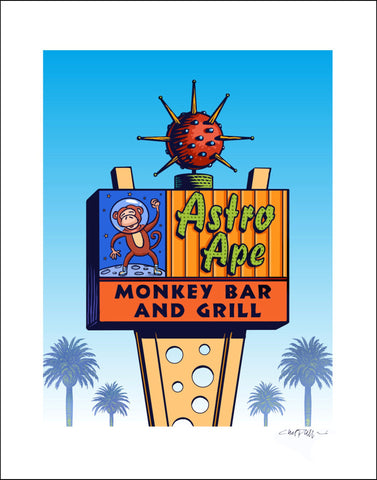 "Astro Ape Monkey Bar Sign- 8"" x 10"" print"