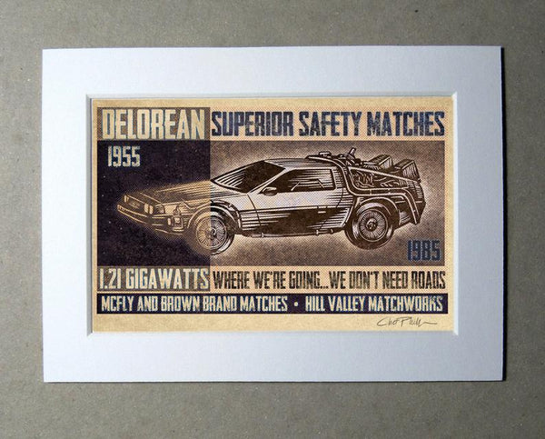 "McFly and Brown Brand 5"" x 7"" matted Matchbox print"