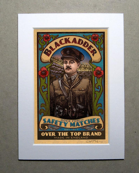 "Black Adder Goes Forth Brand 5"" x 7"" matted Matchbox print"