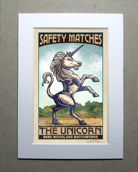 "Unicorn Brand 5"" x 7"" matted Matchbox print"