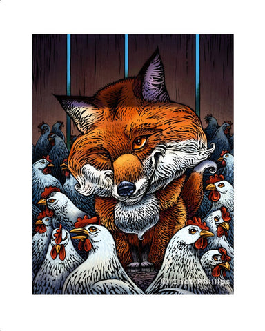 "Fox in the Henhouse- 8 x 10"" print"