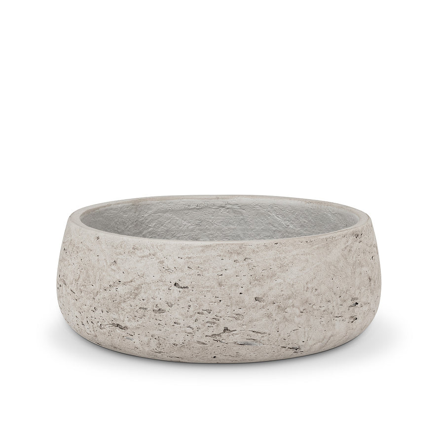 Medium Grey Concrete Low Bowl Planter - 9