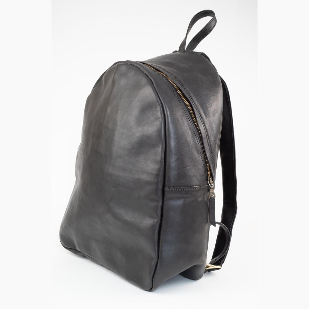 Coco | Unisex Black Leather Backpack