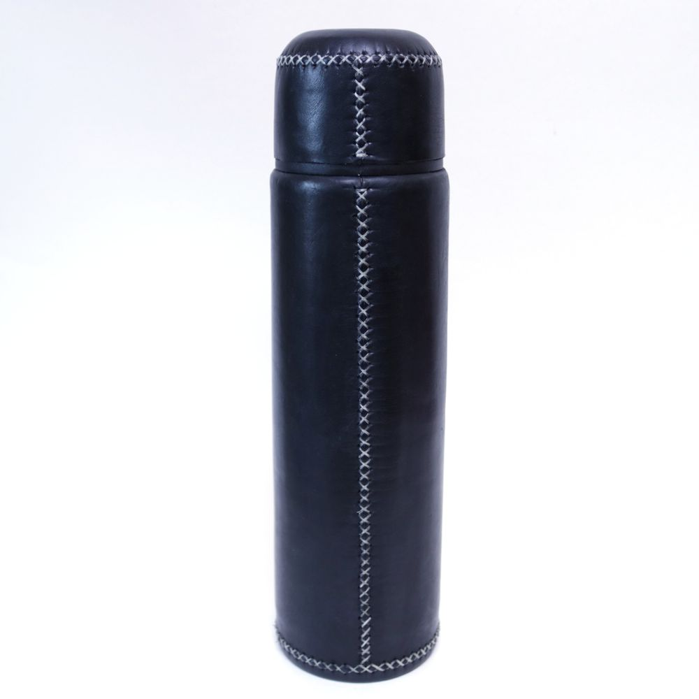 Leather Wrapped Stainless Steel Thermos (Black)