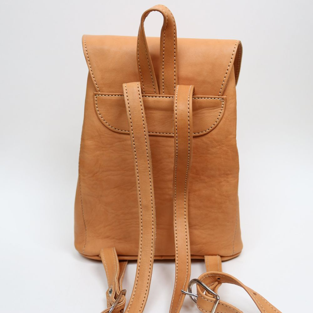 Mujeres | Women's Tan Leather Backpack