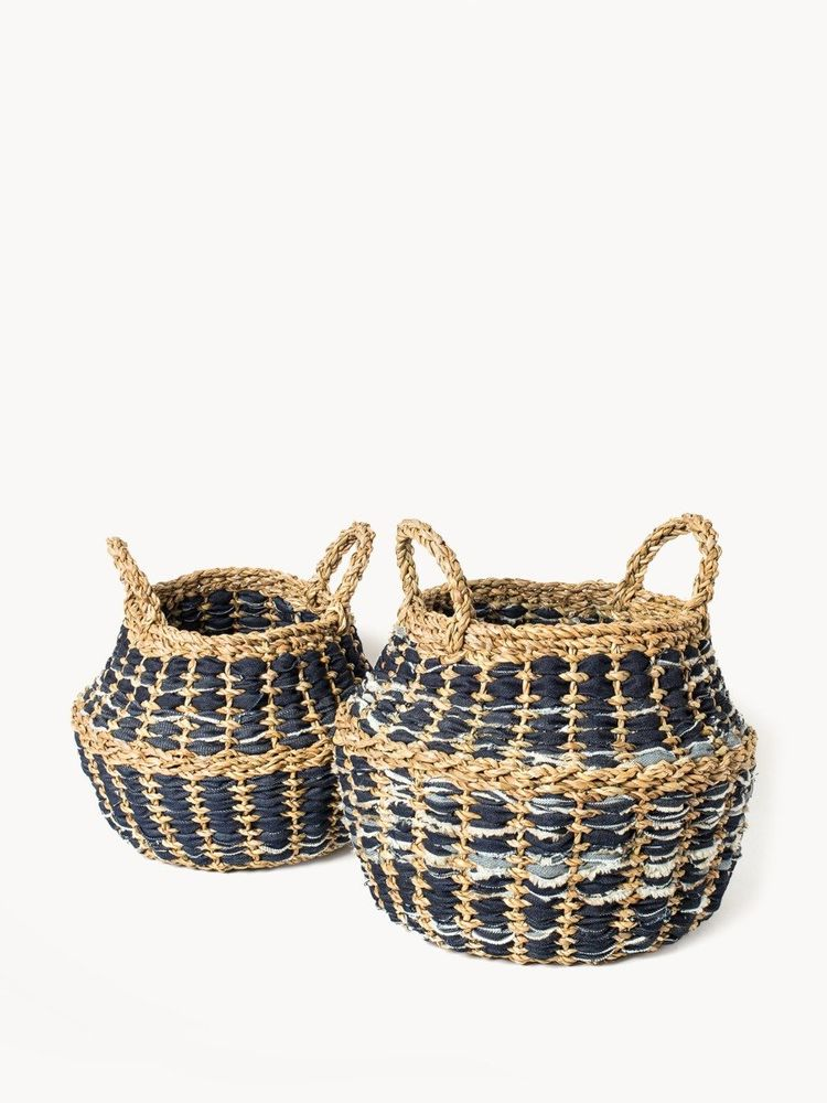 Daya Denim Foldable Basket (Set of 2)