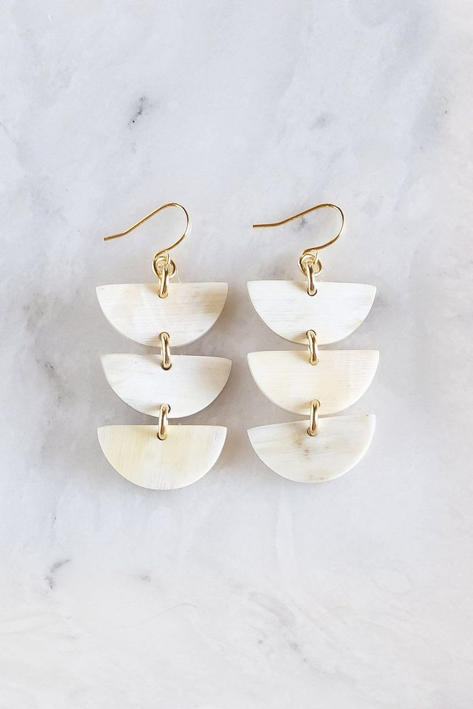 Hanoi Triple Crescent Buffalo Horn Earrings
