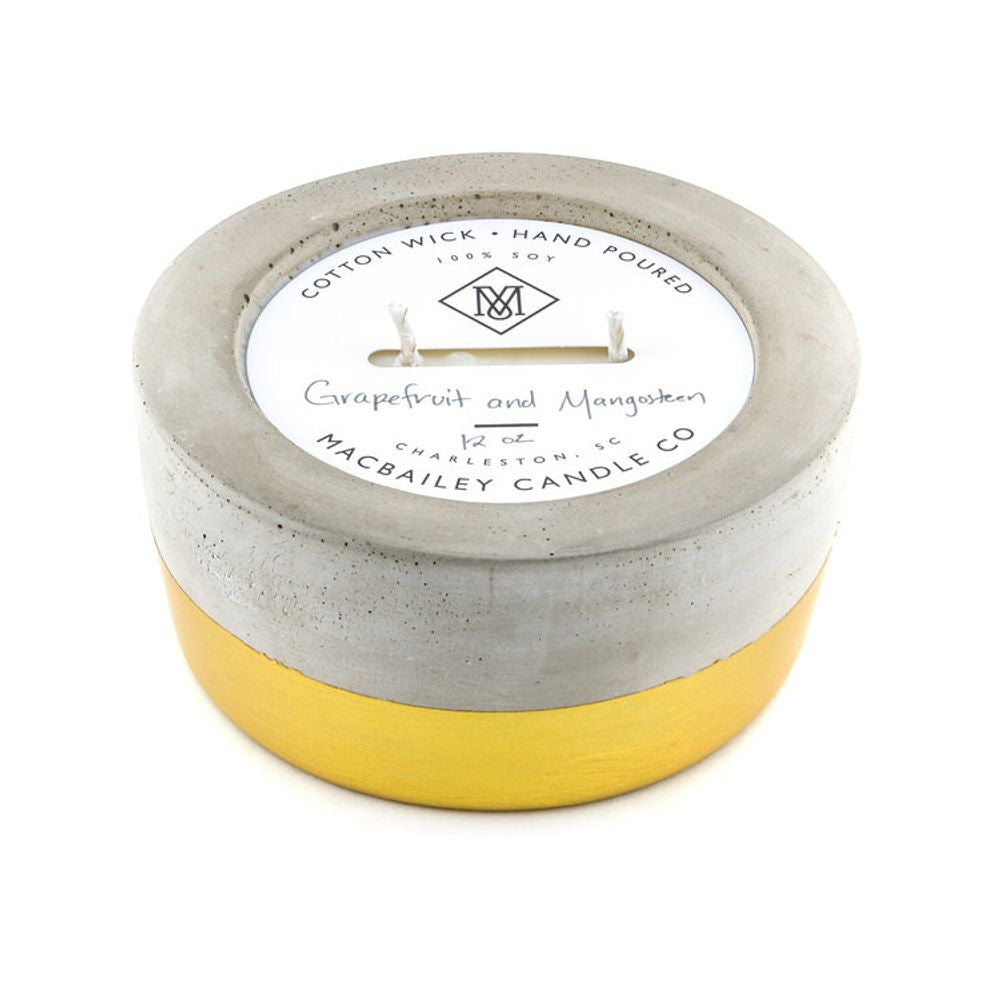 12 oz Concrete Candle - Gold Dipped