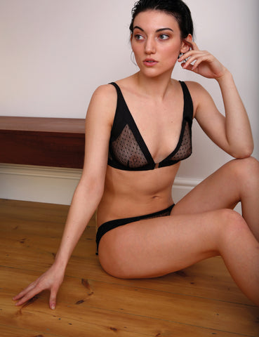 Triangles cotton and tulle bra