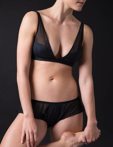 Cresent silk with cotton bra black