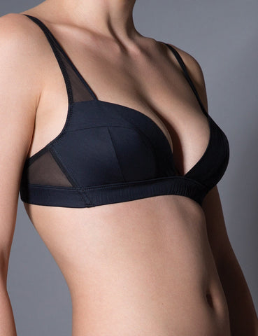 Curvlinear silk and cotton bra