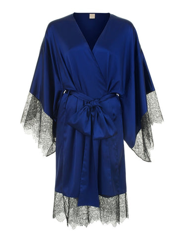 Eleanor Indigo silk and lace kimono