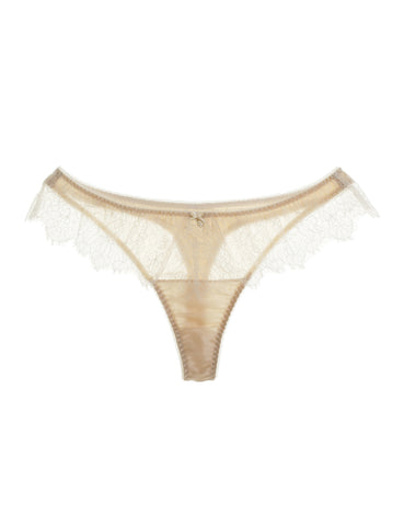 Eleanor Almond silk and lace thong