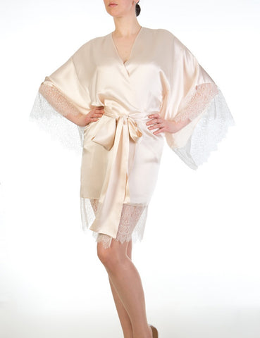 Eleanor Almond silk and lace kimono