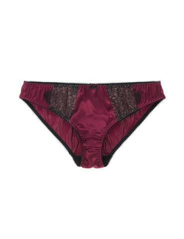 Eleanor Damson silk and lace classic brief