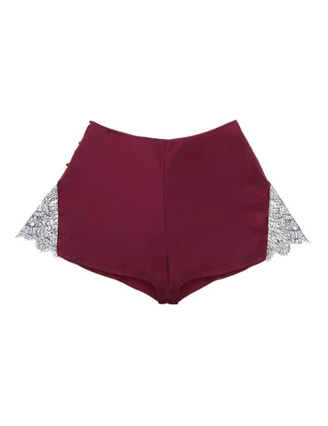 Eleanor Damson silk and lace French knicker