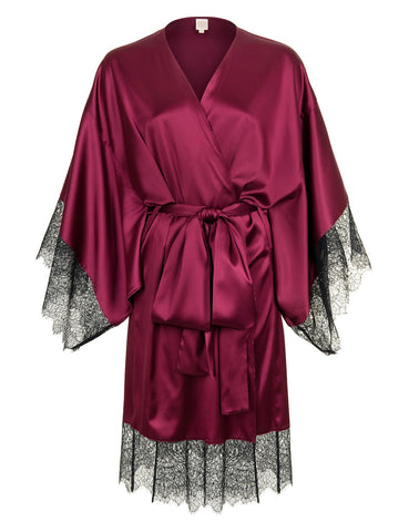 Eleanor Damson silk and lace kimono
