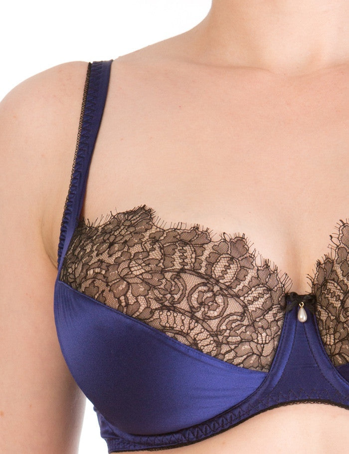 Eleanor Indigo silk and lace full cup bra