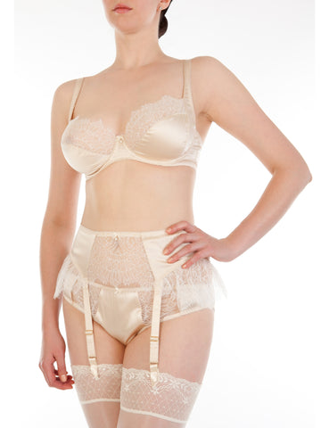 Eleanor Almond silk and lace suspender