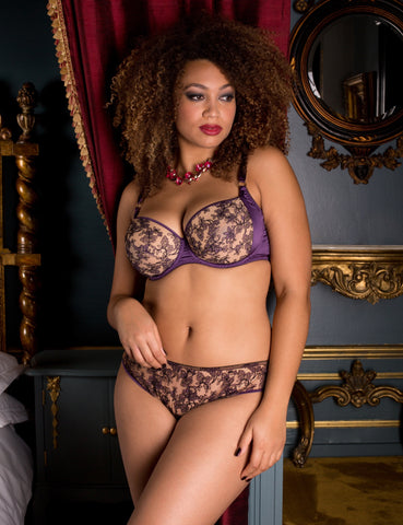 Serena Violet embroidered classic brief