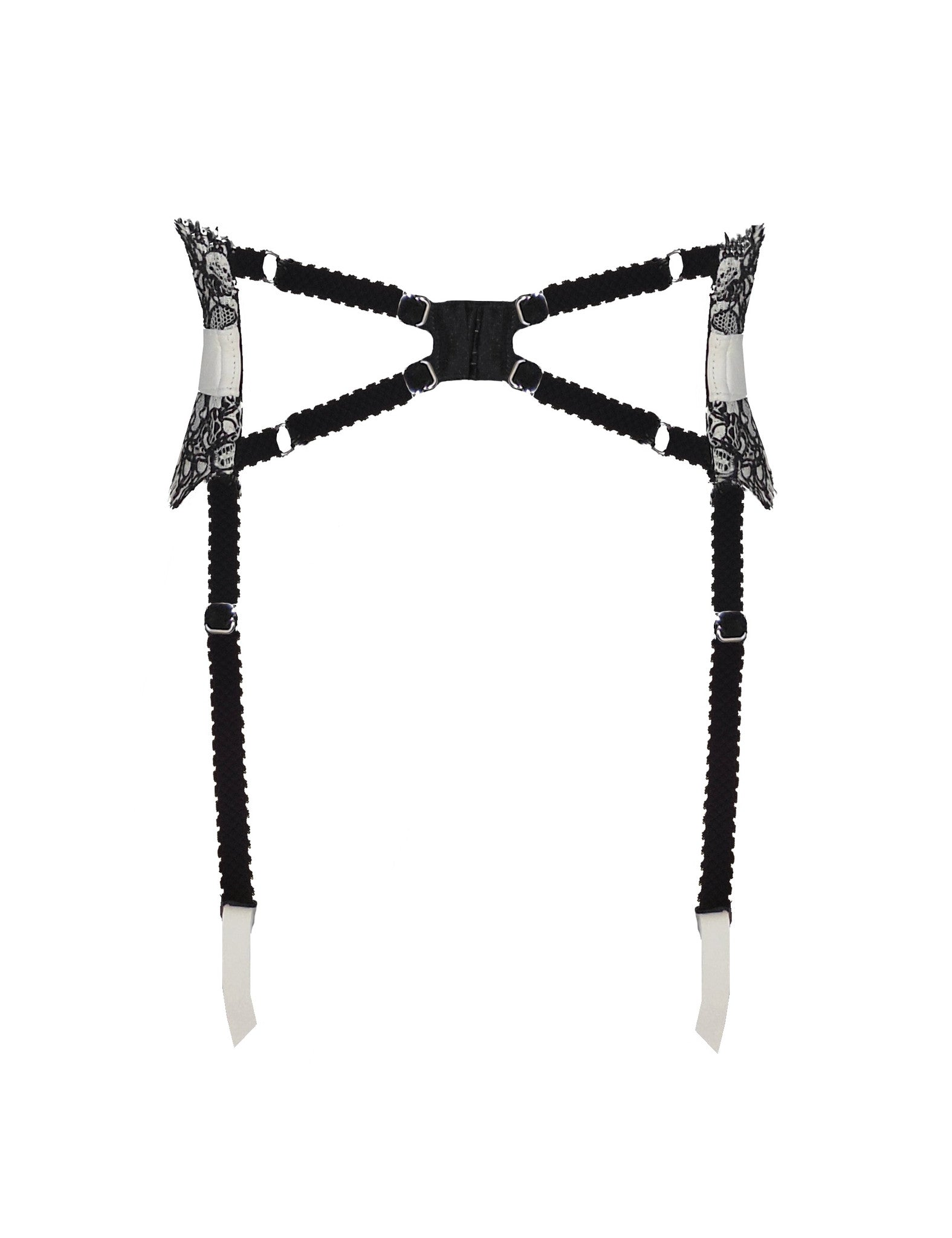 Lysander leather and lace suspender